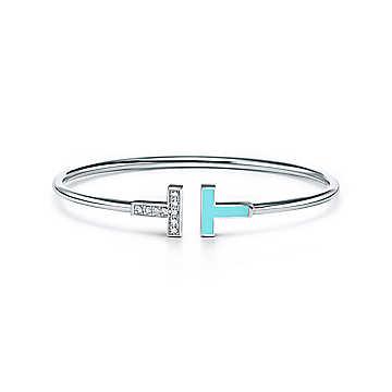 Tiffany & Co.(ティファニー)/ティファニー Tダイヤモンド & ターコイズ ワイヤー ブレスレット