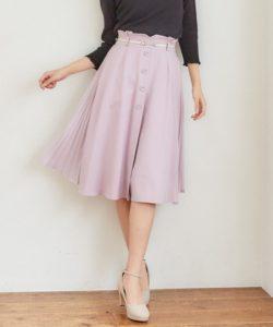MISCH MASCH ベルト付きサイドプリーツスカート ピンク