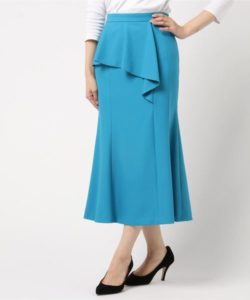 Loulou Willoughbyソリッドラッフルマーメイドスカート ターコイズブルー