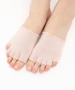 【靴下屋】しっとり絹のフィンガーレスつま先と5本指ソックス