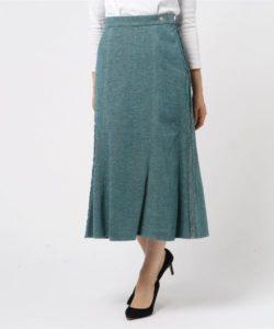 Fluid ツィードマーメイドスカート グリーン
