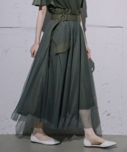MARECHAL TERRE/2wayリバーシブルチュールロングスカート